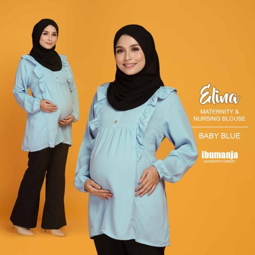 ELINA NURSING BLOUSE in BABY BLUE