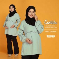 CASILDA NURSING BLOUSE in MINT GREEN