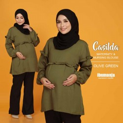 CASILDA NURSING BLOUSE in OLIVE GREEN