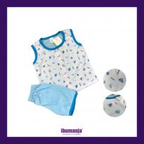 BAJU BABY BERKUALITI & MURAH - SINGLET, SELUAR PENDEK (BLUE)