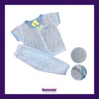 BAJU BABY LUBANG-LUBANG SEJUK, SELESA- LENGAN PENDEK, SELUAR PANJANG (BLUE)