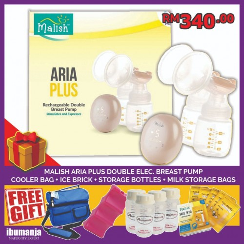 Malish Aria Plus Double Electric Rechargeable Breastpump (FREE GIFT A)
